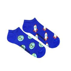 Rockets and Earth Ankle Socks | Mismatched by Design | Friday Sock Co. Ethically made in Italy. Click the link to see more designs!