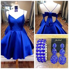 Straps Short Royal Blue Homecoming Dress with Ribbon