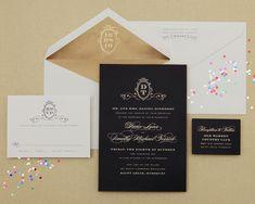 cheree berry // wedding invite // black & gold invite // elegant invitation // black white gold