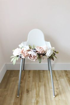 Floral garland for a high chair. Baby girl's first birthday! #first birthday girl ...