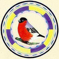 Bullfinch Mandala   DegreeArt.com The Original Online Art Gallery