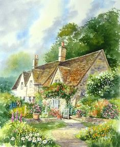 Watercolour Painting by Terry Harrison. Bidury in the Cotswolds Watercolor Architecture, Watercolor Landscape, Watercolor Paintings, Watercolours, Garden Painting, House Painting, Garden Art, Cottage Art, Cottage Door