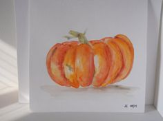Heirloom Pumpkin; I used a wet on wet technique in watercolor to create this pumpkin painting. It's a lovely red-orange heirloom variety pumpkin, with blemishes, bumps and dark spots. The imperfections make it better!