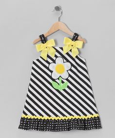 Navy Stripe Daisy Dress - Toddler & Girls