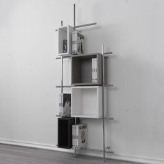Pezzani Libera Contemporary Shelving Unit Chocolate, Dove Grey and White