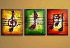 Modern Huge Canvas 100 Hand Draw Art Oil Painting Music Notes 3pc No Frame | eBay