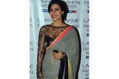 Kajol black sheer net blouse design