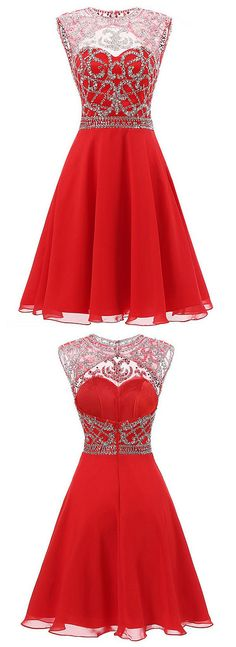 2016 homecoming dress, red homecoming dress, knee length homecoming dress, short…