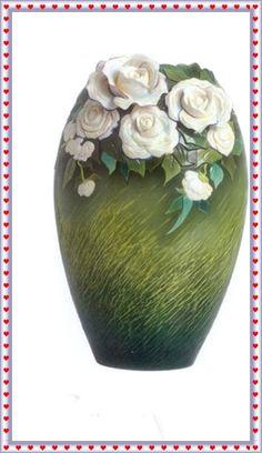 Franz Porcelain Van Gogh White Roses Vase 2010