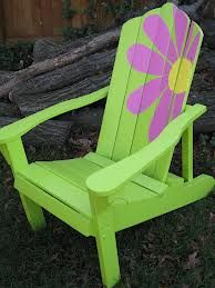 lime Adirondack with painted flower. cute.