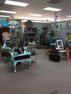 Booth at mustard seed exchange. Repurposed furniture.