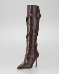 S8911 Manolo Blahnik Toton Buckled Leather Boot