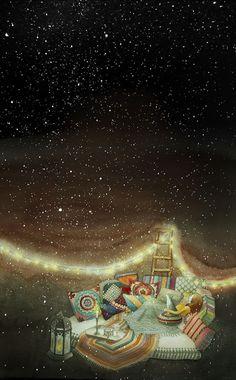 I'm a dreamer seeking an adventure somewhere far away ✨✨✨ Art And Illustration, Fantasy Kunst, Fantasy Art, Stars And Moon, Night Skies, Cute Art, Art Girl, The Dreamers, Fairy Tales