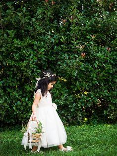 Flower Girl with Flower Crown and Petal Basket #cedarwoodweddings 08.19.17 :: Lauren + Jonathan | Cedarwood Weddings