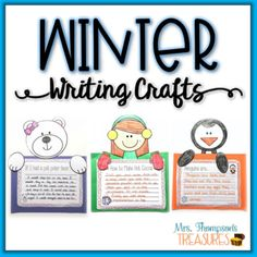 Your room will look amazing decorated with these cute writing crafts for winter, and your students will love answering the fun prompts. ❄ Includes 4 character templates: polar bear, penguin, winter boy and winter girl, plus multiple prompts for each to choose from. Also included are blank writing ...