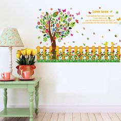Color flower tree fence wall stickers kindergarten bedroom stickers children 's room skirting wall stickers Bedroom Stickers, Kids Room Wall Stickers, Buy Stickers, Contemporary Wall Decor, Wall Art Decor, Wall Decorations, All Modern, Living Room Decor, Diy