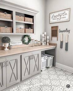 modern farmhouse laundry room with laundry room organization, laundry room storage, neutral laundry room with open shelves with gray cabinets and cement tile floor Mudroom Laundry Room, Laundry Room Remodel, Laundry Room Organization, Laundry Room Design, Laundry In Bathroom, Storage Organization, Laundry Room Colors, Laundry Room Cabinets, Laundry Decor