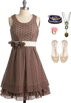"""Brown Dress"" by pafoua-kue on Polyvore"