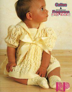 "Lacy Baby Dress Puff Sleeve Sailor Collar 16 - 22"" DK Knitting Pattern"