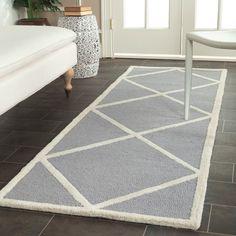 Modern Safavieh Handmade Cambridge Moroccan Silver Wool Rug (2'6 x 8') (CAM136D-28), Size 2'6 x 8' (Cotton, Geometric)