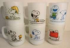 Lot Of 6 Vintage Fire King Mugs Snoopy, PEANUTS GANG Anchor Hocking, Milk Glass