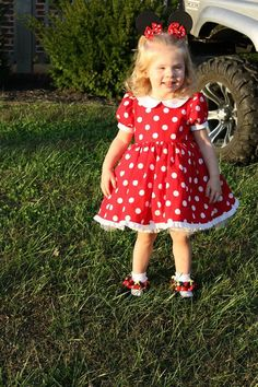 Minnie Mouse dress by on Etsy Funny Dresses, Girls Dresses, Summer Dresses, Minnie Dress, Halloween, Grandchildren, Pink Dress, Birthday Ideas, Little Girls