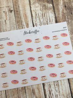 Kawaii Coffee and Donut Stickers