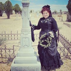 """Mourning gown in original """"new old stock"""" silk crape, crepe lissette, dulled taffeta, and wool sheer, antique soutache, embroidery and a suite of original diamond shaped mourning buttons. Twig bonnet and mourning jewelry are original, veil is silk crape as well. Allen Street Cemetery, Tombstone, AZ"""