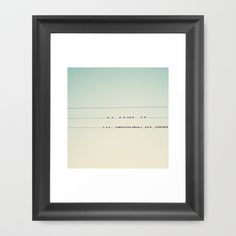thirty-seven little birds sitting in a row ... Framed Art Print by Laura Evans - $36.00