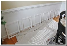 Wainscoting This is one of the clearest, simplest picture frame tutorials that I've seen.This is one of the clearest, simplest picture frame tutorials that I've seen. Home Renovation, Home Remodeling, Picture Frame Wainscoting, Picture Frames, Wainscoting Ideas, Dining Room Wainscoting, Wainscoting Bathroom, Diy Wainscotting, Wainscoting Stairs