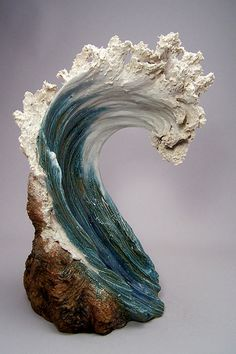 PowerCurl - surf wave ceramic sculpture by Denise Romecki