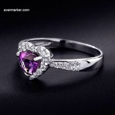 Wanna Try This High - End Heart Shaped a Amethyst Silver Ring