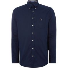 GANT Broadcloth Long Sleeved Shirt ($92) ❤ liked on Polyvore featuring men's fashion, men's clothing, men's shirts, men's casual shirts, mens long sleeve collared shirts, mens casual button down shirts, mens long sleeve shirts, mens button shirts and mens casual long sleeve shirts