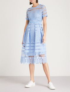 MAJE - Embroidered lace dress   Selfridges.com Lace Embroidery, Embroidered Lace, Biker Boots, Mid Length, Luxury Fashion, Parisian, White Dress, Short Sleeve Dresses, Vestidos