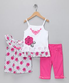 Look at this Pink Rose Capri Pants Set - Infant & Toddler by Nannette Cute Little Girls Outfits, Toddler Girl Outfits, Little Girl Dresses, Kids Outfits, Girls Dresses, Toddler Girls, Fashion Kids, Frocks For Girls, Christening Gowns