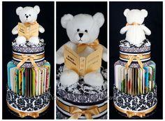 Book Themed Diaper Cake made with 4 Dr. Seuss Books www.facebook.com/DiaperCakesbyDiana
