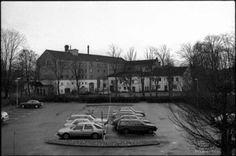 Alingsås fd bryggeri 1989. Idag är det höghus på karikeringen och Estrad ligger där bryggeriet låg.