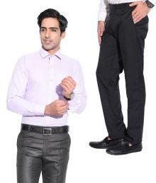 Pelican International Purple Smart Combo Of Men's Shirt And Trouser