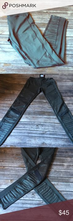 BNWT Electric Yoga Mesh Moto Leggings Charcoal color leggings, mesh Moto style. Have zippered pocket up top in back. Inseam pictured. BNWT Electric Yoga Pants Leggings