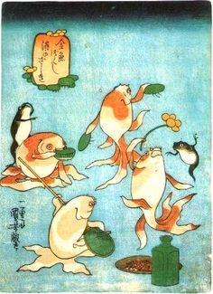 歌川国芳:金魚づくし/酒のざしき(座敷)