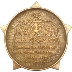 1930 US Naval Yard Puget Sound Table Medal