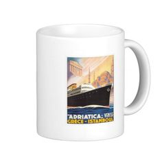 Vintage Istanbul Turkey Travel Poster Art Coffee Mug #Turkey #Gifts #mugs