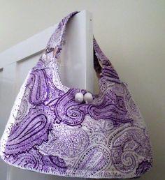 Purple & white paisley patterned needlecord shoulder bag £35.00