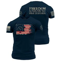 Freedom is never more than one generation away from extinction. Enlisted Nine's 1776 shirt is an ultra-comfortable and soft men's 100% cotton shirt in midnight navy.