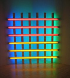 Dan Flavin - untitled (in honor of Harold Joachim) 3, 1977  Pink, yellow, blue and green fluorescent light