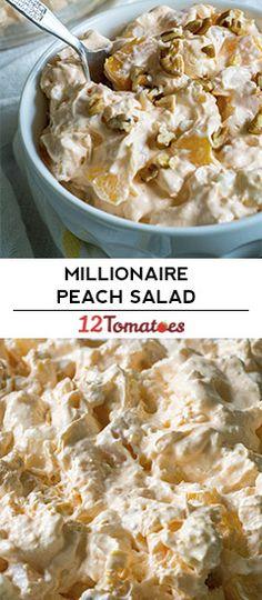 Millionaire Peach Salad – a priceless take on ambrosia. Millionaire Peach Salad – a priceless take on ambrosia. Fluff Desserts, Jello Recipes, Dessert Salads, Fruit Salad Recipes, Köstliche Desserts, Delicious Desserts, Yummy Food, Jello Salads, Shot Recipes