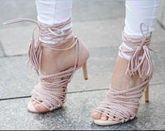 (68.00$)  Watch more here - http://airlw.worlditems.win/all/product.php?id=32788163226 - New arrival high heel pink sandals super high thin heels open toe narrow band&fringe decoration ankle strap women shoes grey