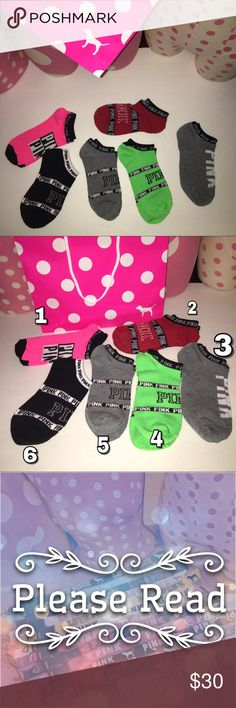 New! All 6 pairs included • VS• LOVE PINK• socks Yes it's  available ✳️   You will be getting each design of socks as shown on the picture. Socks only.  Brand new. No tags❌ Not accepting offers on individual items❌ No trades❌.                                                                                         Price is FIRM ✅ PINK Victoria's Secret Other