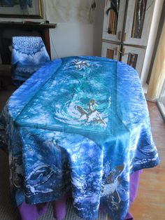 Dolphin Bay authentic Batik Fine Art Tablecloth by goldphinbatik on Etsy Deeper Shade Of Blue, Shades Of Blue, Ocean Colors, Sell On Etsy, Dolphins, Screen Printing, Comforters, Art Pieces, Fine Art