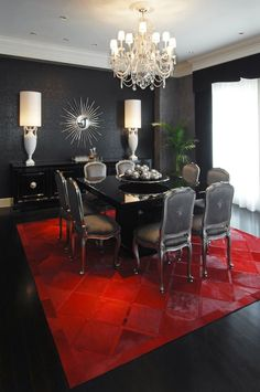 Love the red carpet in the black room.